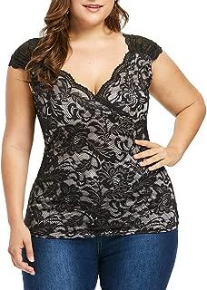 DADKA Fashion Womens Shirt Casual Plus Size Empire Waist Lace V-Neck Sleeveless Vest Tank Top