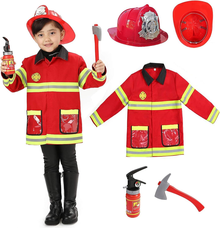 Wizland Child Role Play Firefighter Costumes,Fireman Dress Up Playset Kids 3-5,5-7,7-9