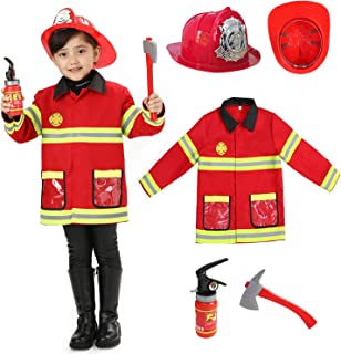 Wizland Fireman Firefighter Costumes,Child Role Play Costumes,Fireman Jacket with Accessories for Kids 5-7years