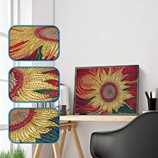 Special Shape 5D Diamond Painting Kits for Adults Kids, Awesocrafts Fantasy Sunflower Partial Drill DIY Diamond Art Embroidery Paint by Numbers with Diamonds (Sunflower)