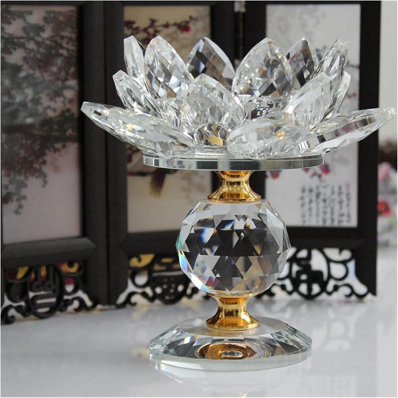 BANGONG Candle Holders Glass Block Lotus Flower Metal Feng Shui
