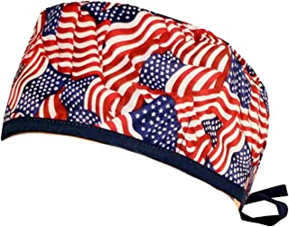 Mens and Womens Medical Scrub Cap - Small Tossed Us Flag W/Navy Ties