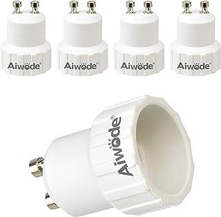 Aiwode Base Transformador de Lámpara GU10 a E14,Adaptador de Casquillo de Bombilla para bombillas LED y bombillas Halógenas,Potencia Máxima 200W,Paquete de 5.