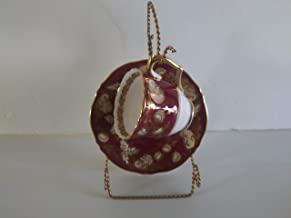 Staffordshire Crown England Maroon Teacup and Saucer