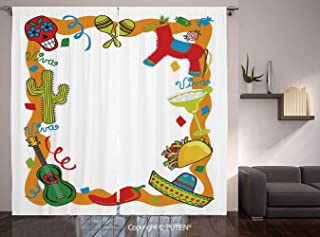 Thermal Insulated Blackout Window Curtain [ Fiesta,Cartoon Drawing Style Mexican Pinata Taco Chili Pepper Sugar Skull Pattern Guitar,Multicolor ] for Living Room Bedroom Dorm Room Classroom Kitchen Ca