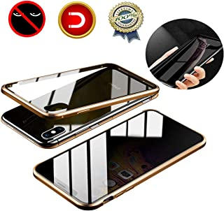 JAGOCY Case for iPhone Xs MAX,Privacy Magnetic Anti-Peeping Front&Back Tempered Glass Full Screen Coverage[Magnet Metal Frame][Support Wireless Charging] Anti-spy Case for Apple iPhone Xs MAX Gold