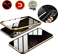 JAGOCY Case for iPhone XS/X/10,Privacy Magnetic Anti-Peeping Front&Back Tempered Glass Full Screen Coverage[Magnet Metal Frame][Support Wireless Charging] Anti-spy Case for Apple iPhone XS/X/10 Gold