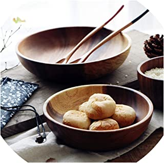 Moment Fruit Salad Bowl Natural Solid Wood With No Lacquer, Deep Dish, Wood Bowl, Rice Bowl, Soup Bowl, Tableware,D16 H4.5Cm
