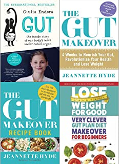 Gut giulia enders, gut makeover, recipe book and very clever gut diet 4 books collection set