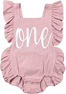 Puloru Newborn Baby Girl First Birthday Outfit Ruffle One Print Backless Jumpsuit Bodysuit