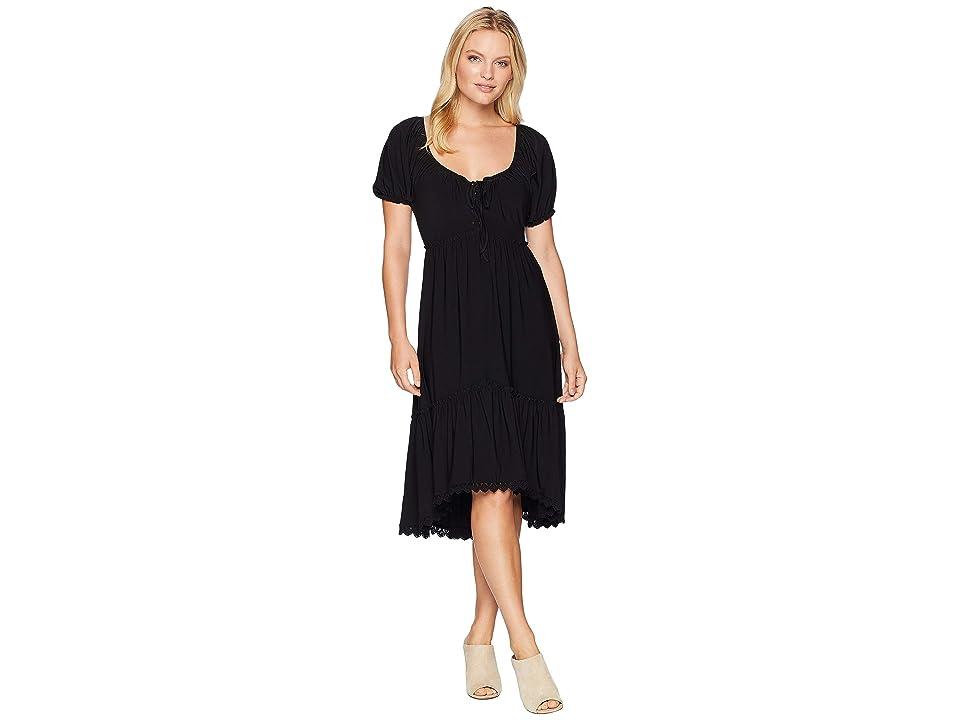 Anne Klein Peasant Short Sleeve Fit Flare Shirtdress (Black) Women