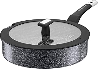 WaxonWare 11 Inch / 4.5 Quart All In One Large Nonstick Frying Pan With Lid - 100% PFOA PTFE APEO Free Stone Non Stick Sau...