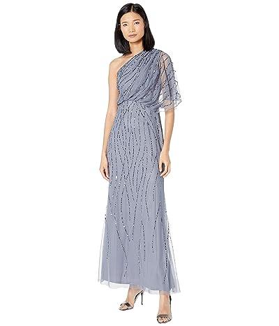 Adrianna Papell Beaded One Shoulder Blouson Dress (Dusty Blue) Women
