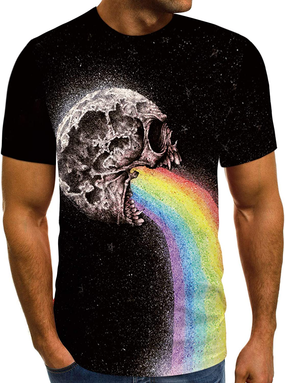 Vomiting Rainbow Skulls Gothic Weird T-Shirt for Men Women Unisex Couple T-Shirts Short Sleeve Tops for Summer