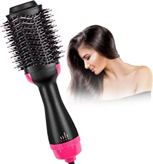 ZAMKAR 2 in1 Heated Straightening Brush With Temperature Control and Hair Dryer Brush, Hair Dryer Curling Brush, Hot Air Brush, Hair Straightener Brush And Dryer, Hair Dryer Brush