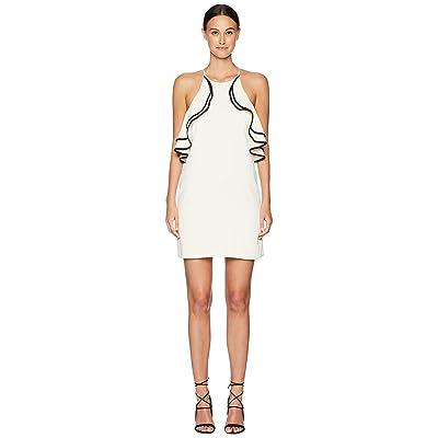 Halston Heritage Sleeveless High Halter Neck Ruffle Detail Dress (Cream/Black) Women