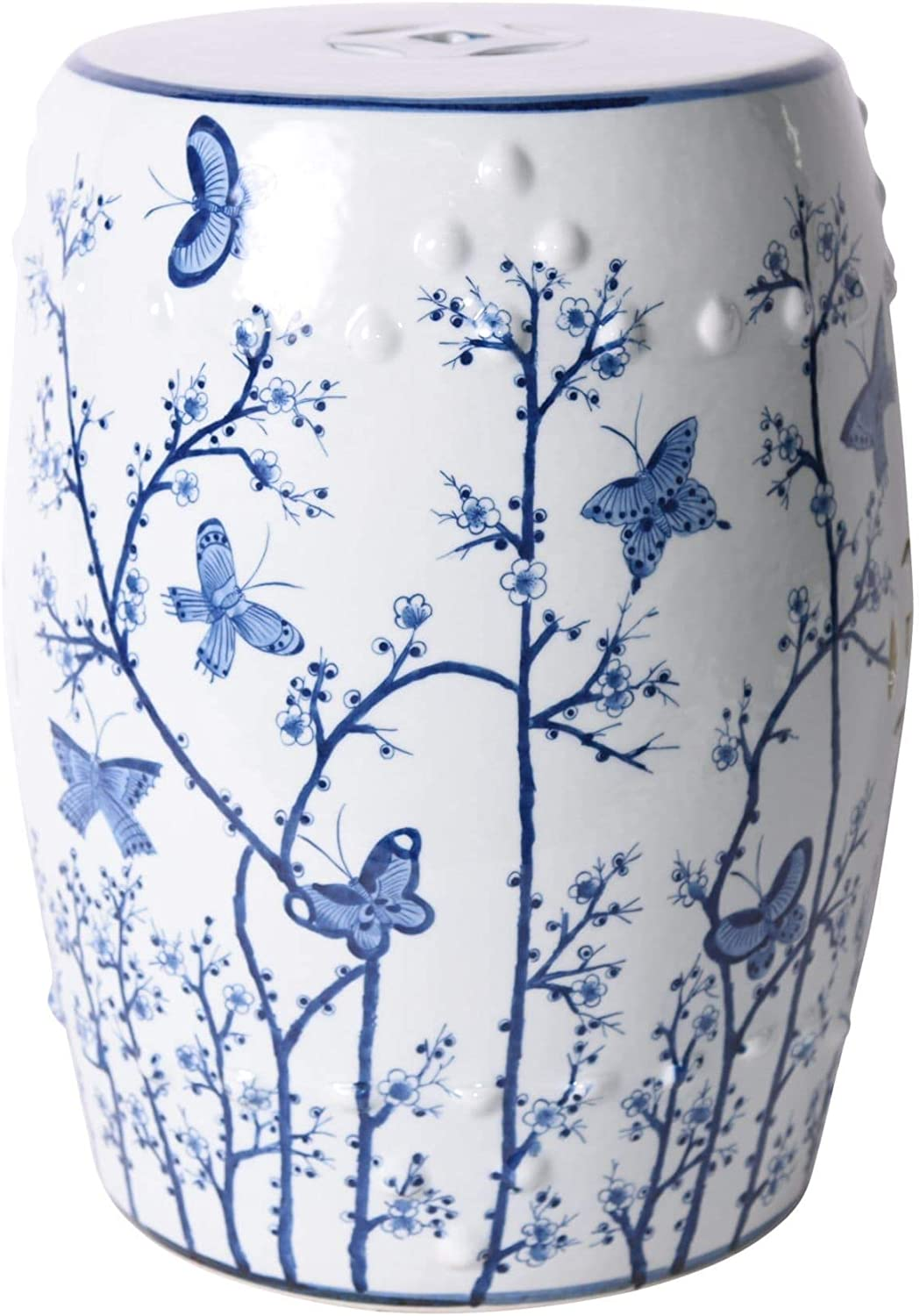 UKN Blue 100% quality warranty! and White Butterfly Porcelai Garden 13x13x17 Plum Stool OFFicial store