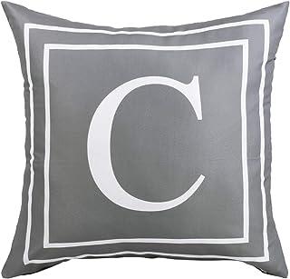 Fascidorm Gray Pillow Cover English Alphabet C Throw Pillow Case Modern Cushion Cover..