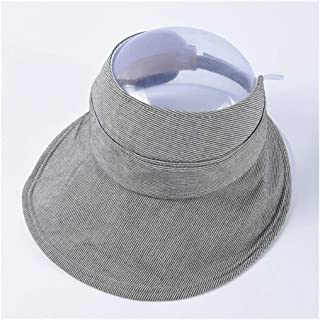 HongJie Hou Summer Empty top hat Cycling hat Female Pinstripe Wild Big Visor hat Folding Straw hat Casual hat (Color : Grey)