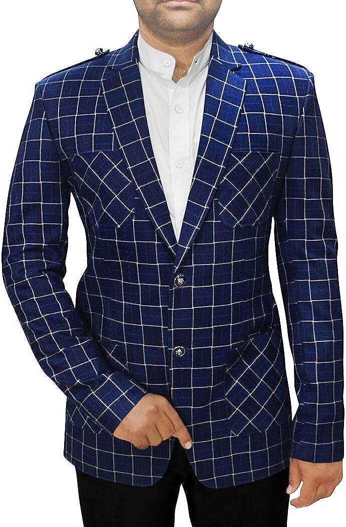 INMONARCH Mens Slim fit Casual Navy Blue Checks Blazer Sport Jacket Coat Safari Style SB74XL54 54 X-Long Navy Blue