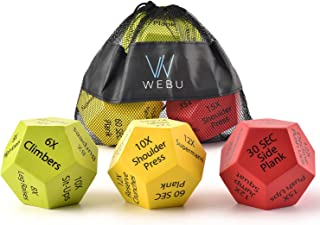 WEBU 3-Pack Exercise Dice with Manual | Amazing for Full Body Workouts, Cross fit Game, HIIT, Cardio, Yoga, Stretching, St...