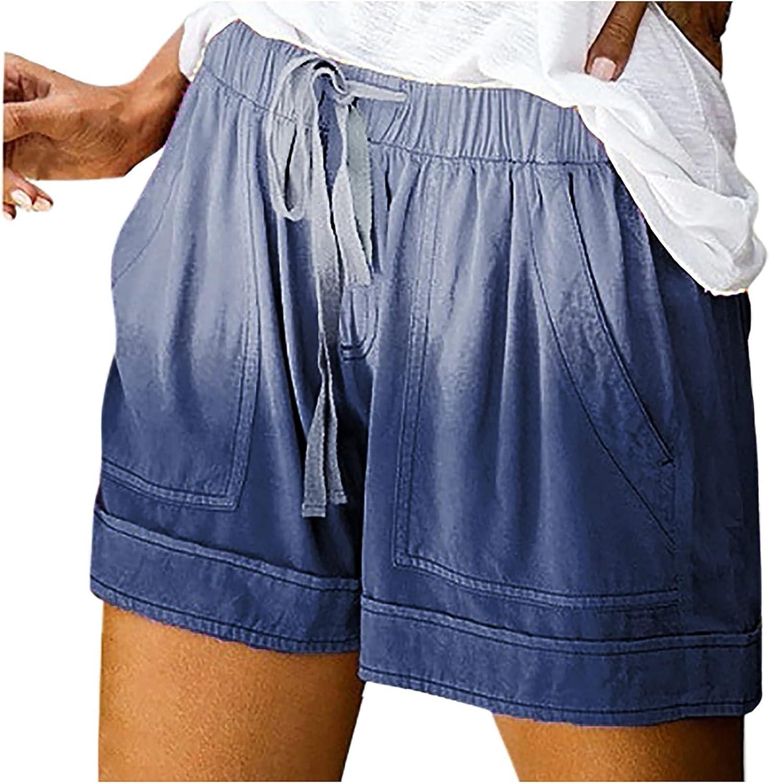 SUNTIN 2021 Womens Comfy Drawstring Splice Casual Elastic Waist Pocketed Loose Shorts Pants