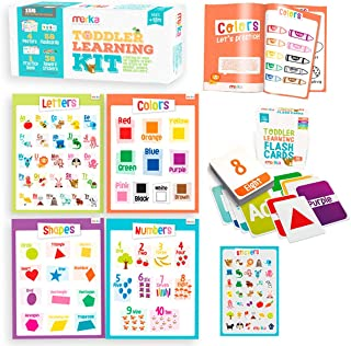 merka Toddler Learning Kit - Includes 4 Posters, 58 Flashcards, 58 Practice Book Exercises and 36 Reward Stickers - Learn ...