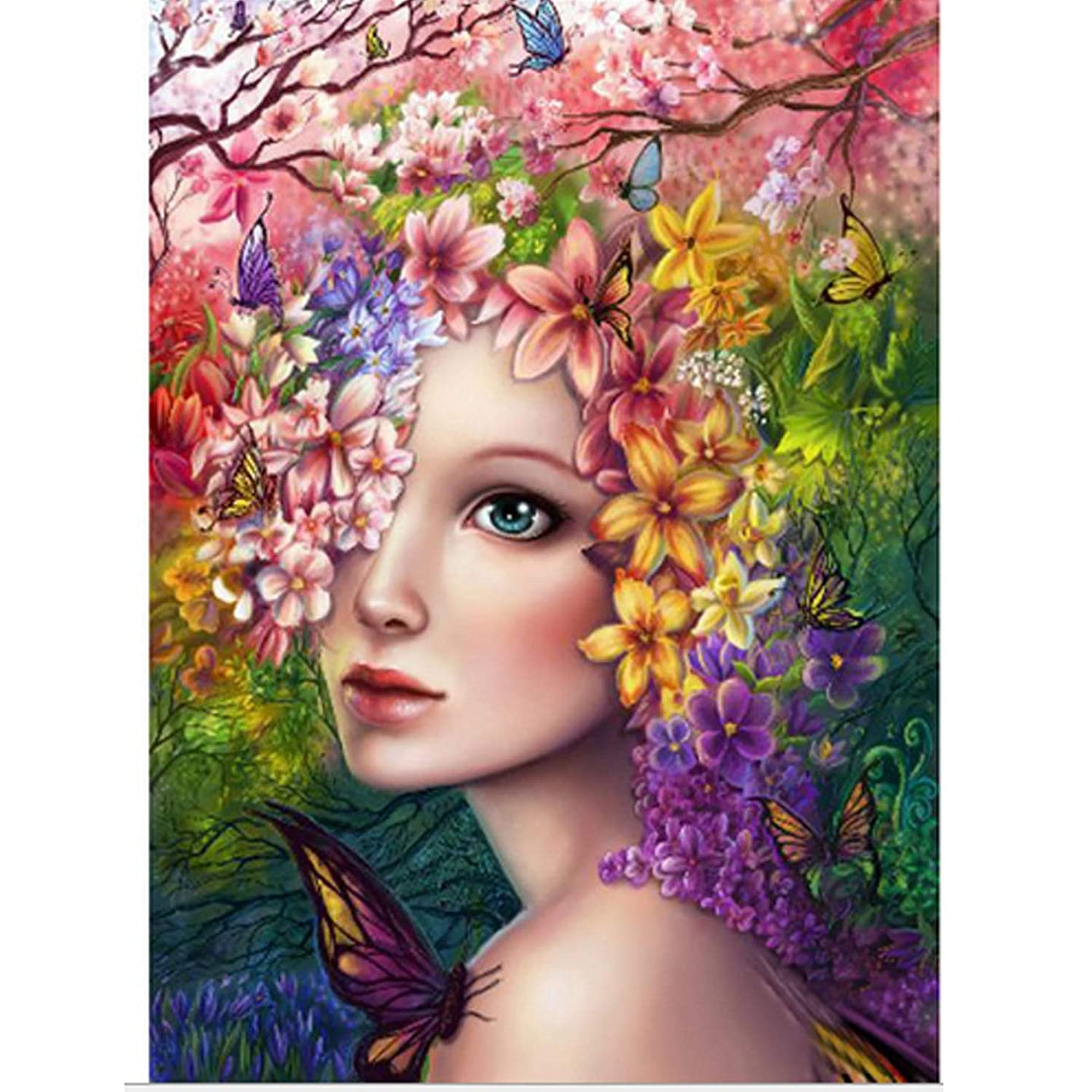 Full Drill Diamond Painting Kits for Adults for Home Art Wall Decor - Flower Fairy 20x26'' (50x65cm)