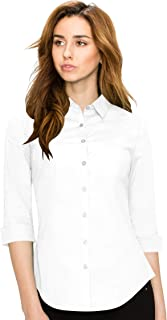 Lock and Love LL WT1947 Womens 3/4 Sleeve Tailored Button Down Shirts