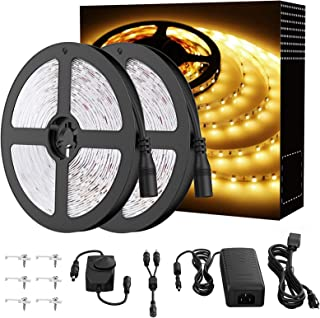 Onforu 66ft Dimmable LED Strip Lights Kit, UL Listed Power Supply, 3000K Warm White, 20m 1200 Units 2835 LEDs, 12V LED Rop...