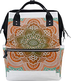 Backpack Mandala Orange Green Picture Womens Laptop Backpacks Hiking Bag Travel Daypack