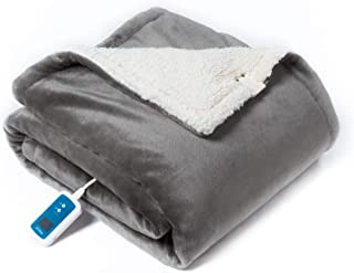 Bedsure Washable Electric Heated Blanket Throw, 50x70 inches - Low-Voltage Fast Heating Blanket with 21 Heat Settings, Auto Shut-Off, Overheating Protection - Reversible Sherpa/Fleece Wrap, Grey