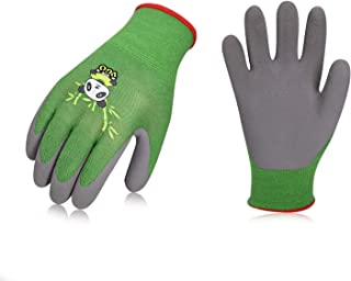 Vgo 2Pairs Kids Gloves for Age 3-5, Bamboo Work Gloves for Gardening(Size XXXS,Green,KID-RB6026)