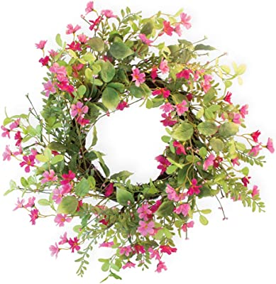 Boston International Decorative Front Door/Wall Wreath, 23.5-Inches, Pink Harmony