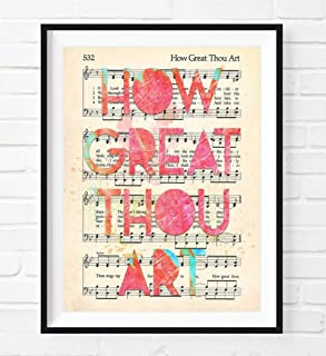 How Great Thou Art, Christian Art Print, Unframed, Vintage Hymnal Book of Worship Page Hymn, Sheet Music, Watercolor Lyrics, Wall Decor Poster Gift, 8x10 Inches