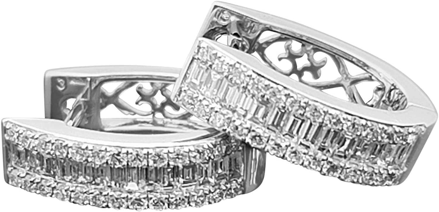 14K White Gold Hoop Earrings, Natural Round-Cut Diamonds (G-H Color, Si2-I1 Quality) Natural Baguette-Cut Diamonds (G-H Color, Si2-I1 Quality), 0.68cttw.
