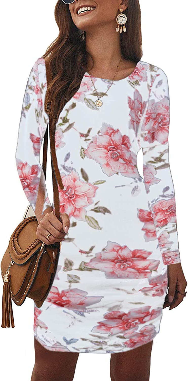 Auxo Women's Floral Maxi Dress 3/4 Sleeve Sexy Wrap V Neck Bohemian Beach Long Dress High Waist Split Sundress Cover Up