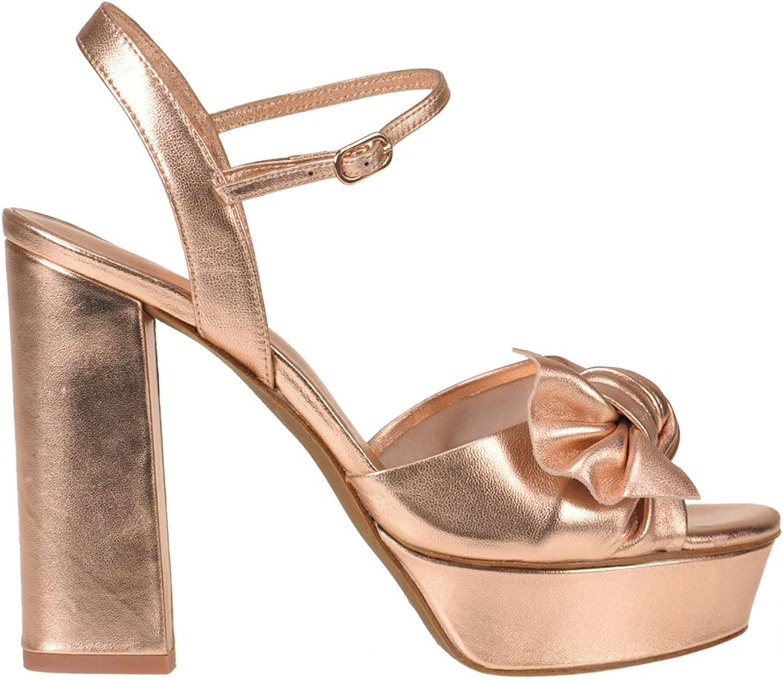 Lola Cruz Women's MCGLCAT000005056E Silver Pink Leather Sandals