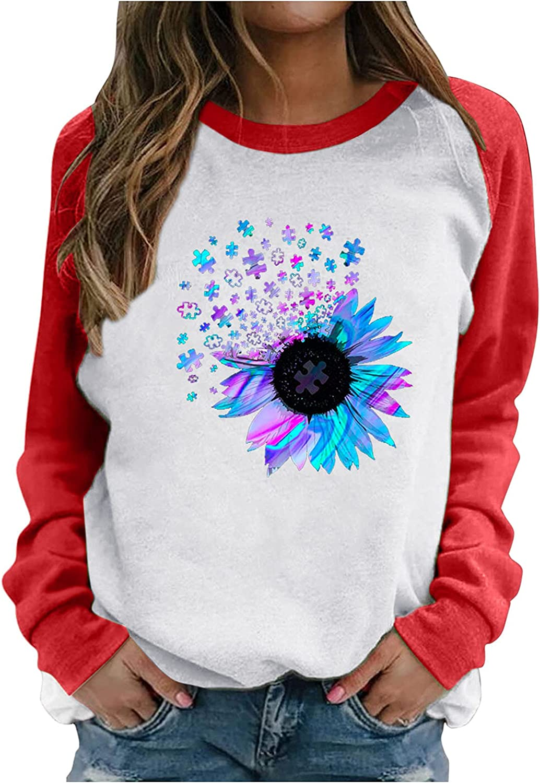 ONHUON Sweatshirts for Women, Womens Printed Long Sleeve Sweatshirt Pullover Comfy Casual Loose Top Shirts
