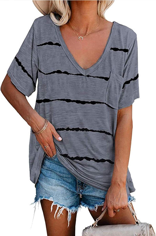 Kiolenxah Women's Short Sleeve Stripe T Shirts Loose Casual V Neck Pocket Tunic Tops Summer with Leggings Tees Blouses