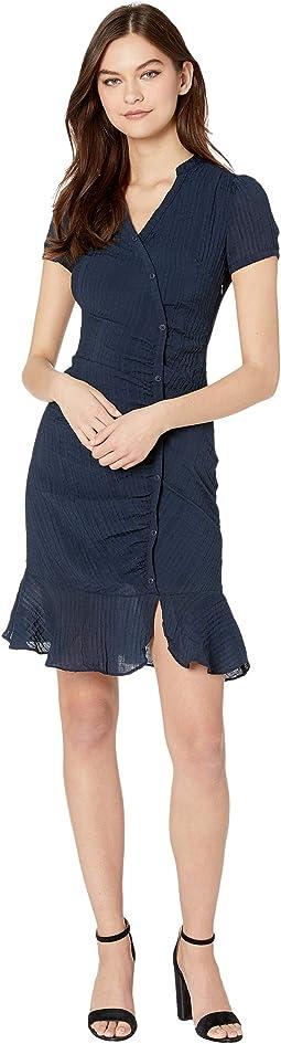 Marlyn Asymmetrical Rayon Crinkle Stripe Shirtdress