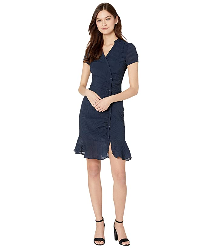 Cupcakes and Cashmere  Marlyn Asymmetrical Rayon Crinkle Stripe Shirtdress (Night Sky) Womens Dress