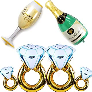 PartyYeah 6 Pcs Balloons Set - 4Pcs Diamond Ring Balloons + Champagne Bottle and Goblet Balloons, for Wedding Anniversary Engagement Bachelorette Party Decorations