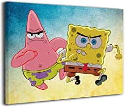 PSnsnX Canvas Wall Art Prints Patrick Star and Spongebob Squarepants Picture Modern Paintings Home Decoration Giclee Artwork Wood Frame Gallery Stretched (16