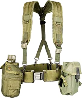 Military Outdoor Clothing Previously Issued US GI OD Green Canteen Set with Suspenders