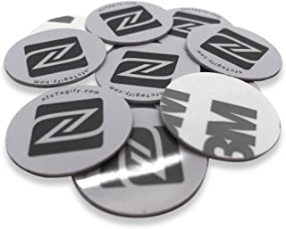 10 NFC Tags | NXP Chip NTAG213 | 144 Bytes Memory | Hard PVC Sticker | 25 mm Round White Disk | Strong 3M Self Adhesive