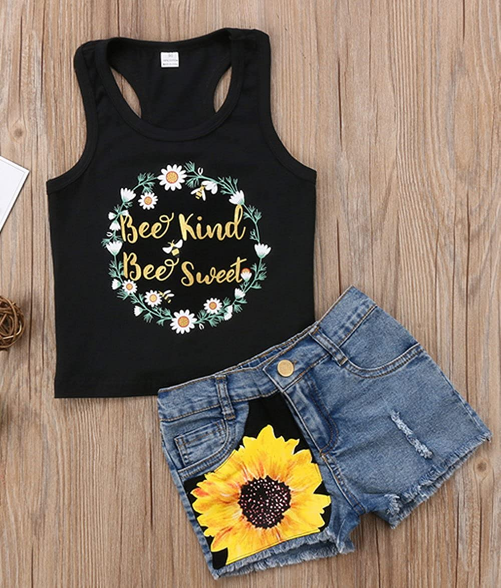 2Pc Kids Baby Girl Sleeveless T-Shirt Top+Floral Denim Shorts Outfits