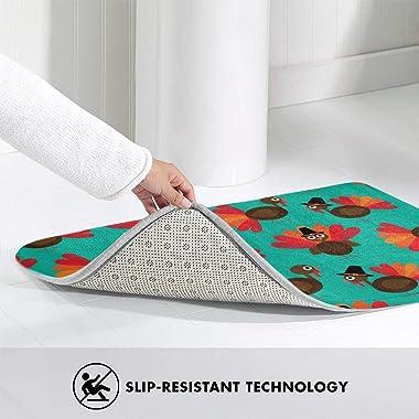 Cute Thanksgiving Turkey Door Mat Rug Indoor/Front Door/Shower Bathroom Doormat, Non-Slip Doormats, 23.6 X 15.8 Inch