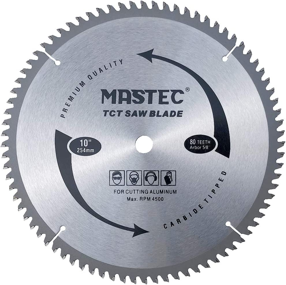 MASTEC 10 Inch 80 Tooth TCG for Aluminum and Non Ferrous Metals Cutting Saw Blade with 5/8 Inch Arbor