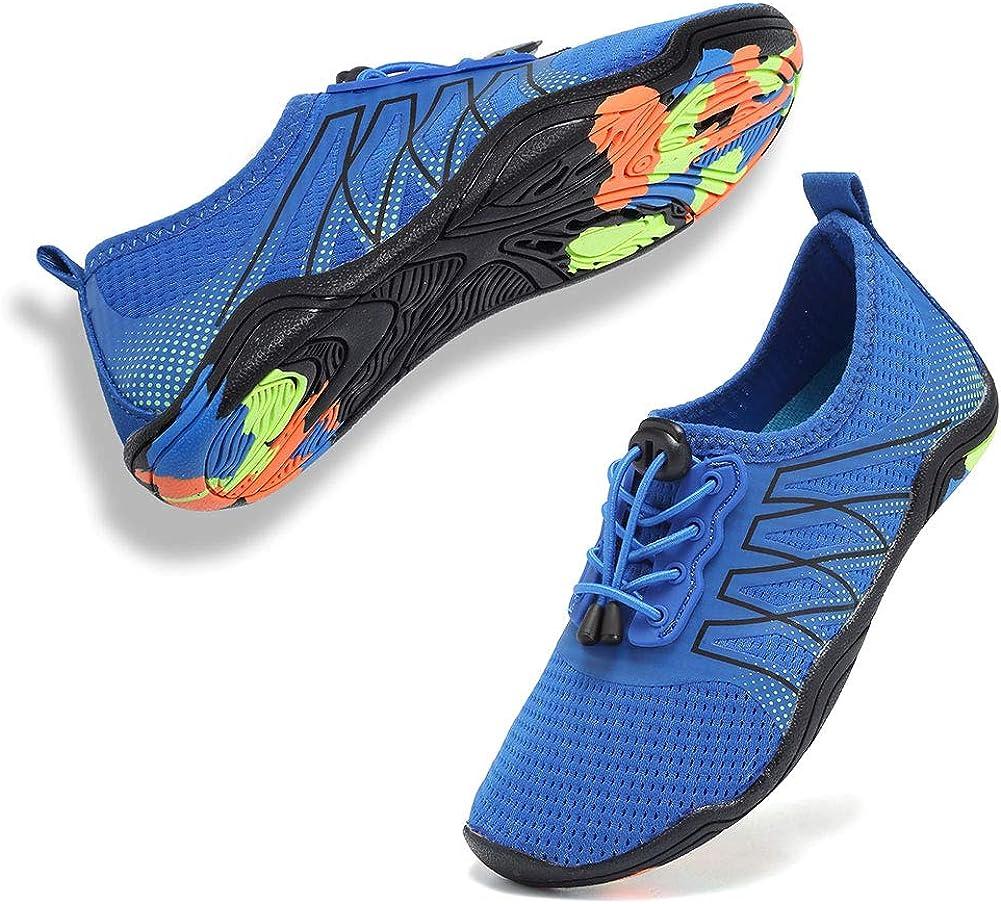 Boys & Girls Water Shoes Lightweight Comfort Sole Easy Walking Athletic Slip on Aqua Sock(Toddler/Little Kid/Big Kid) U1ELJSX004-Deep blue-28
